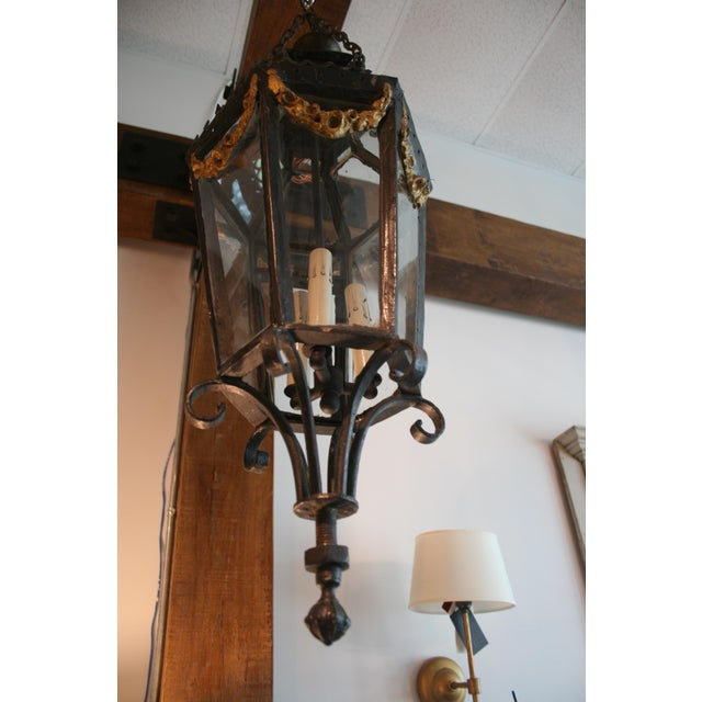 French 19th Century Louis XV Style Iron Lantern For Sale - Image 3 of 9