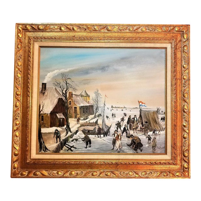 Dutch Ice Skating Oil Painting on Canvas by Van Buiksloot For Sale