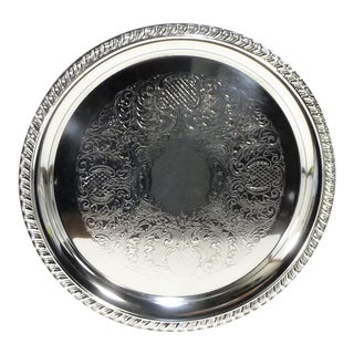 Vintage Round Engraved Silverplate Rope Twist Banding Serving Tray For Sale