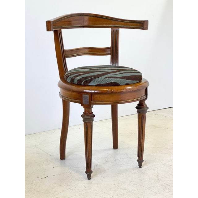Neoclassical Vanity Chair of Walnut and Brass For Sale - Image 13 of 13