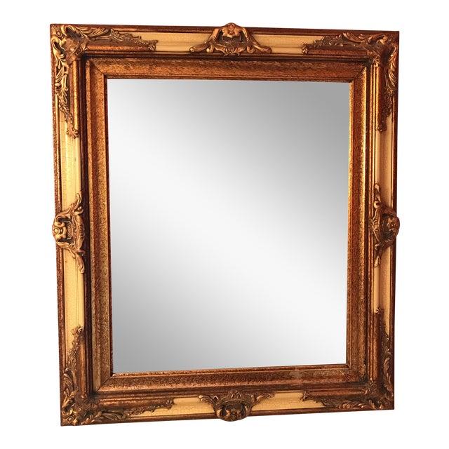 Vintage Carved Crackled Wood & Burnished Gold Mirror - Image 1 of 8