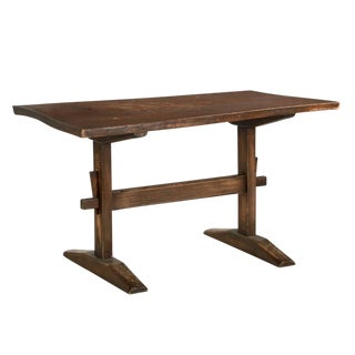 English Arts & Crafts Elm Trestle Writing or Breakfast Table For Sale