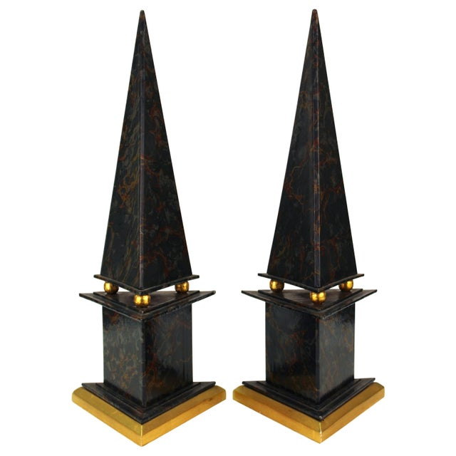 Neoclassical Style Obelisks in Marbled Paper and Gold Foil - a Pair For Sale - Image 11 of 11