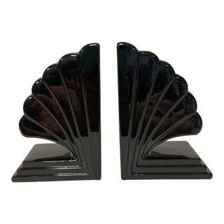 Fitz & Floyd Black Deco Fan Bookends Pair For Sale