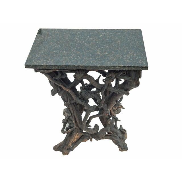 Fabulous rare folk twig console with black granite top -