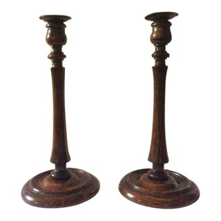 Antique 1930s Turned Wood Candlestick Holders - a Pair For Sale