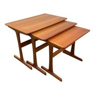 1960s Kai Kristiansen Danish Teak Nesting Tables - Set of 3 For Sale