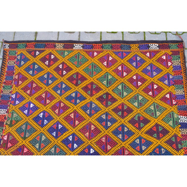 Handwoven Turkish Kilim Rug. Traditional Oushak Area Rug Braided Kilim - 5′6″ X 8′6″ For Sale In Raleigh - Image 6 of 10