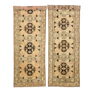 Pair of Vintage Turkish Oushak Carpet Runners with Modern Style and Muted Colors For Sale