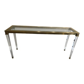 Modern Lucite and Glass Console Table For Sale