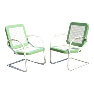 Vintage Art Deco Metal Basketweave Old Green Porch Outdoor Spring Arm Chairs - Pair For Sale