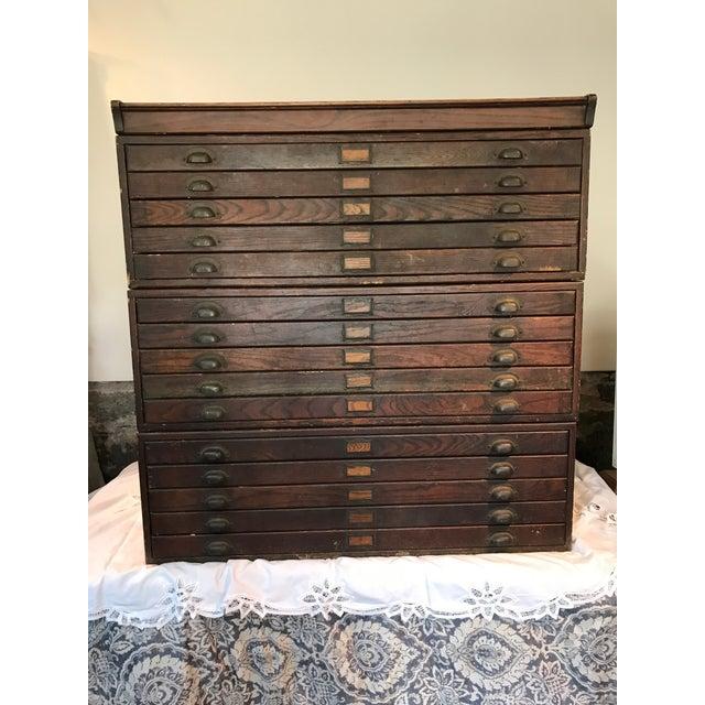 Antique 14 Drawer Flat Storage Map Cabinet - Image 3 of 6 - Antique 14 Drawer Flat Storage Map Cabinet Chairish