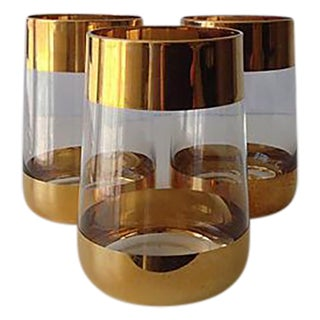 Italian 24k Gold Banded Glasses - Set of 3 For Sale