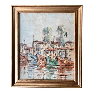 Mid Century Modern Harbor and Sailboat Painting in Frame For Sale