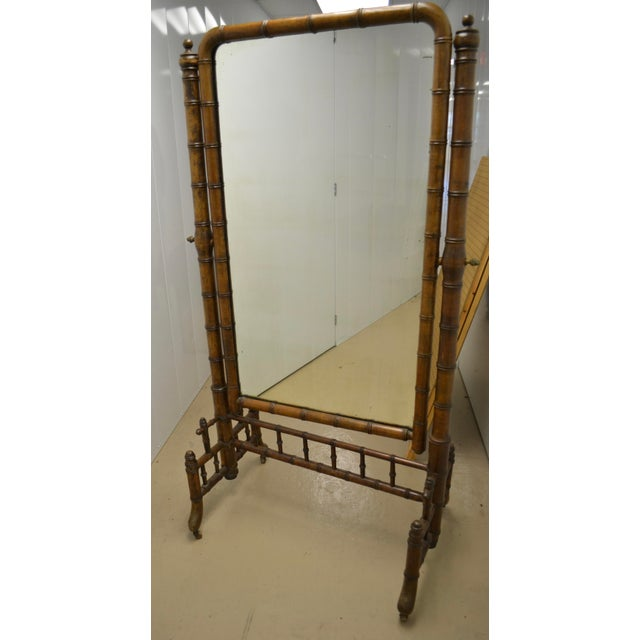19th Century French Faux Bamboo Cheval Mirror For Sale - Image 9 of 9