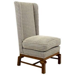 1960s Low Bedroom Chair, Oak, New Stuffing, Pierre Frey's Fabric - Barcelona For Sale