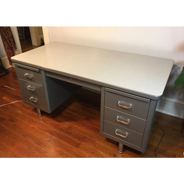 Steelcase Mid-Century Industrial Tanker Desk For Sale - Image 9 of 11