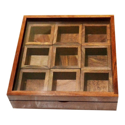 Mid Century Shabby Chic Hand Made Indian Brown Teak Wood Box of Boxes Natural Organic Vintage Antique For Sale