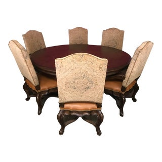 Thomasville Furniture Hills of Tuscany Elba Dark Rustico Round Dining Table Chair Set For Sale