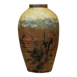 19th Century Antique Chinese Celadon Wine Earthenware Jar For Sale