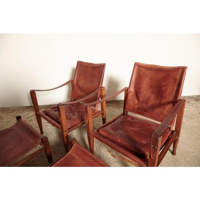 Kaare Klint Safari Chairs and Footstools, Rud Rasmussen, Denmark, 1950s For Sale - Image 6 of 11