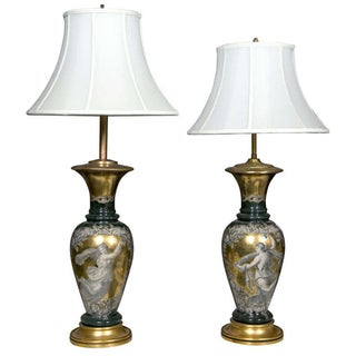 Classical Design Reverse Glass Lamps - Pair For Sale
