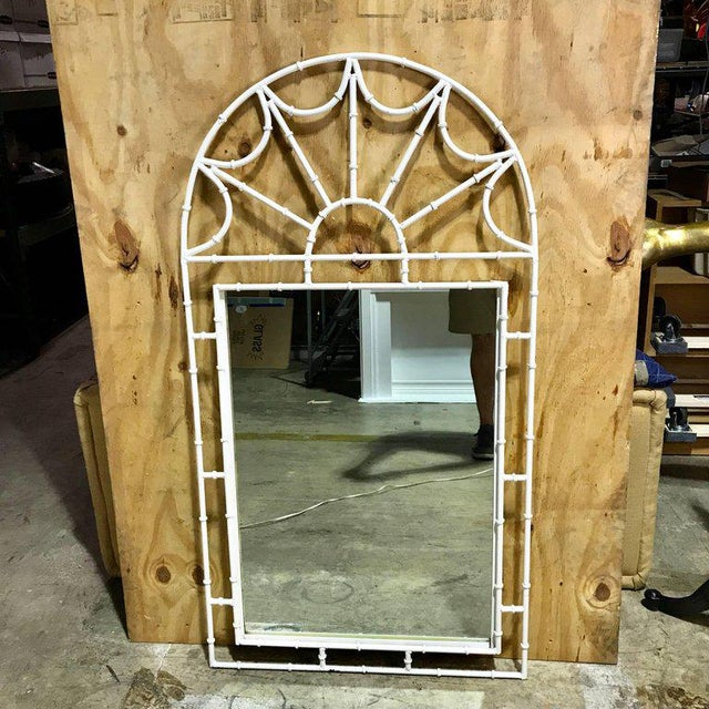 Midcentury Faux Bamboo Iron Mirror in White For Sale In Atlanta - Image 6 of 8