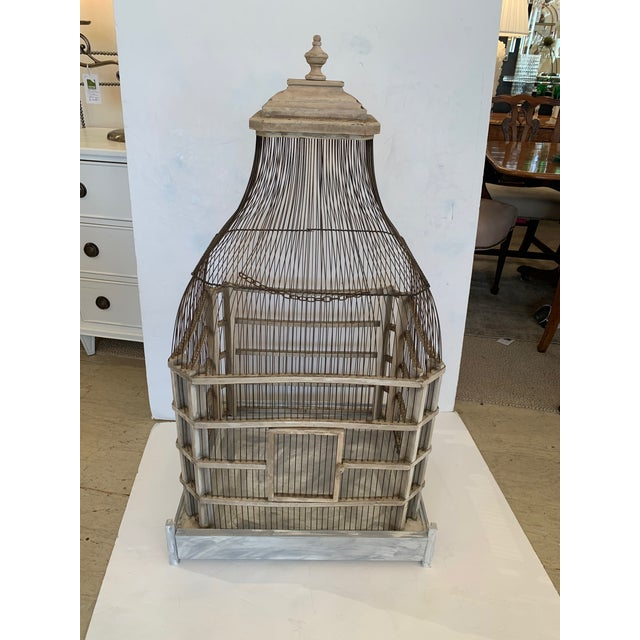 Large Painted Grey Wood & Wire Birdcage For Sale - Image 12 of 12