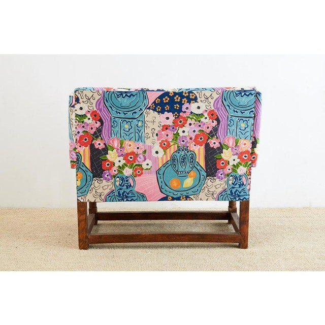 Antique English Winged Settee With Floral Upholstery For Sale - Image 11 of 13