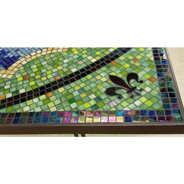 Boho Chic Mosaic Fleur-De-Lis Sunburst Tile Top Table For Sale In Los Angeles - Image 6 of 13