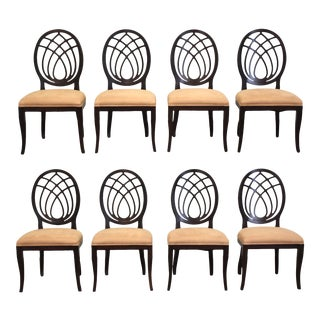 Italian Round Back Dining Chairs - Set of 8 For Sale