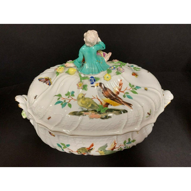 Mid 18th Century Antique 1750 Meissen Porcelain Tureen with Birds, Insects, Flowers and Boy Finial For Sale - Image 5 of 13
