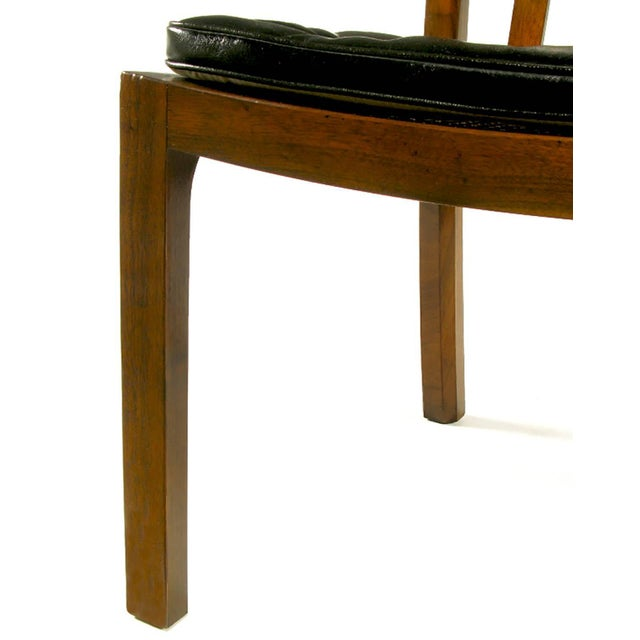 Six Bert England Forward Trend Walnut and Leather Dining Chairs For Sale - Image 9 of 11