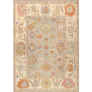 Contemporary Turkish Oushak Hand-Knotted Wool Area Rug - 9′9″ × 13′6″ For Sale
