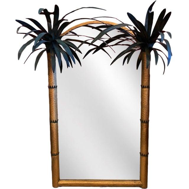 Vintage Palm Beach Regency Tole Palm Tree Framed Gilt Mirror For Sale - Image 12 of 12