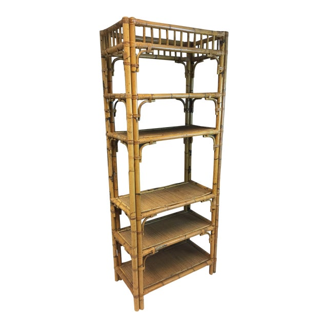 Vintage boho chic bamboo rattan etagere chairish for Etagere campagne chic