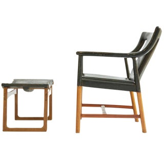 Ejner Larsen and A. Bender Madsen Lounge Chair and Ottoman For Sale