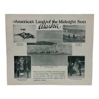 "Vintage Original u.s. Navy Print, ""America's Land of the Midnight Sun - Alaska"", 1937 For Sale"