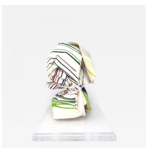 """Vintage Mid-Century Groboski """"Stripes"""" Paper Sculpture & Lucite Case - 2 Pieces For Sale - Image 4 of 4"""
