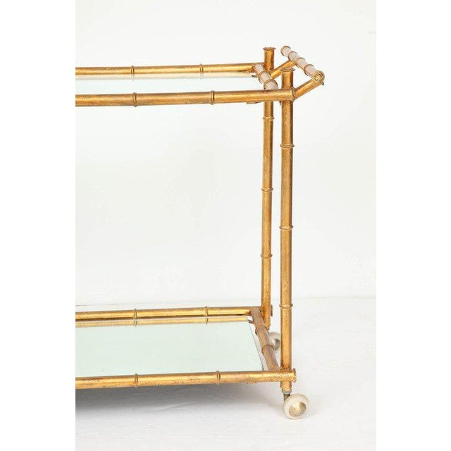 Italian Italian Gilt Iron Stylized Bamboo Serving / Bar Cart For Sale - Image 3 of 11