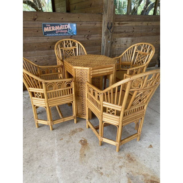 Vintage Brighton Pavilion Style Bamboo and Wicker Weave Table Four Chairs For Sale - Image 12 of 13