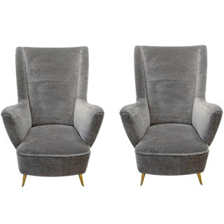 Isa, Pair of Armchairs in Velvet Mohair and Brass, Italy, Circa 1950 For Sale