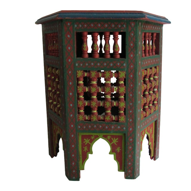 Moroccan Green & Red Carved Wood Side Table For Sale