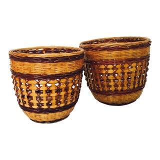 Vintage Woven 2 Tone Plant Baskets - a Pair