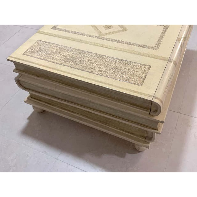 Neoclassical White-Parchment Leather Book Coffee Table by Maitland-Smith For Sale In Atlanta - Image 6 of 10