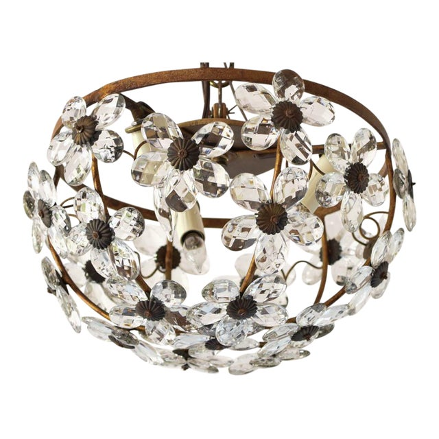Mid 20th Century Italian Floral Crystal Flush Mount For Sale