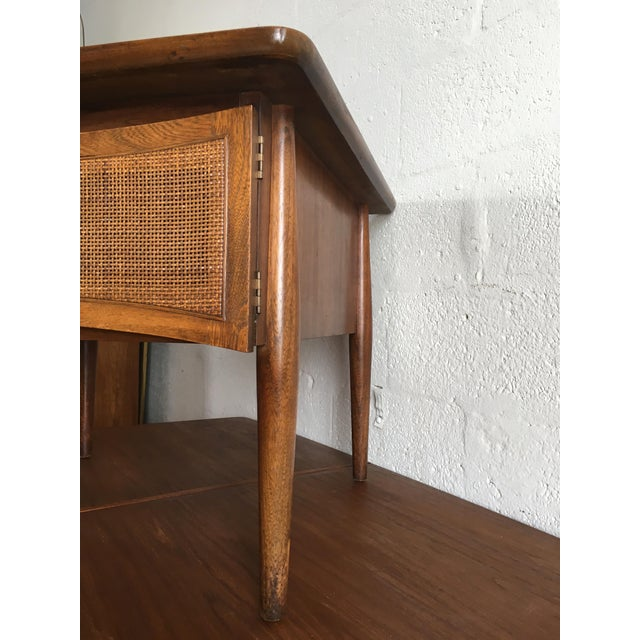 Mid-Century Modern Side Table With Caned Doors . For Sale - Image 9 of 11