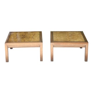 1960s Mid-Century Modern Henredon Burlwood Low Side Tables - a Pair For Sale