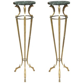 Pair of Maison Jansen Bronze and Marble Pedestals For Sale
