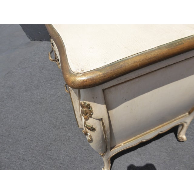 1950's Vintage French Provincial Country White Gold Nightstand W Brass Hardware For Sale - Image 11 of 13